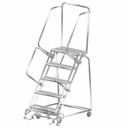 Ballymore Ss053214g 5 Step 24wx46d Stainless Steel Rolling Safety Ladder,