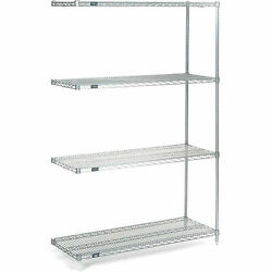 Nexel 4 Tier Wire Shelving Add-on Unit Stainless Steel 60w X 30d X 63h
