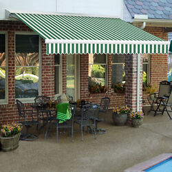 Awntech Retractable Awning Right Motor 10and039w X 8and039d X 10h Forest Green/white