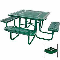 46 Square Table, Perforated, Coated Steel, 78w X 78d, Green