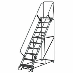 Ballymore Sw1032p 10 Step 24w Steel Safety Angle Rolling Ladder W/ Handrails
