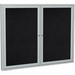 Ghentand174 2 Door Enclosed Recycled Rubber Bulletin Board 60w X48h Black