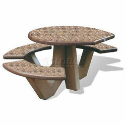 66 Ada Compliant Concrete Oval Picnic Table Brown
