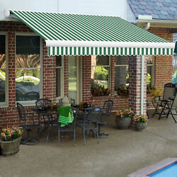 Awntech Retractable Awning Manual 10and039w X 8d X 10h Forest Green/white