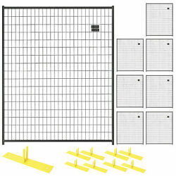 8 Panel Temporary Security Fence Kit Black Welded Wire