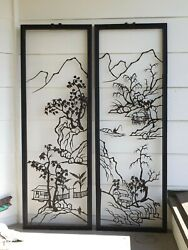 Antique Meiji Japanese Wrought Iron Reticulated Wall Panels Landscape Scenes