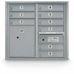 United Visual Products 4c Horizontal Mailbox 28-1/2h Double Column 9 Doors 1
