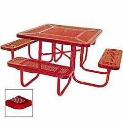 46 Square Table, Perforated, Coated Steel, 78w X 78d, Red