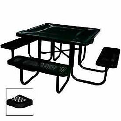 46 Square Table, Perforated, Coated Steel, 78w X 78d, Black