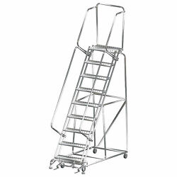 Ballymore Ss093214p 9 Step 24wx70d Stainless Steel Rolling Safety Ladder