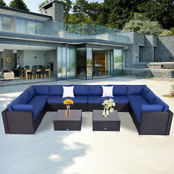 Patio Furniture Set 12 Pcs Outdoor Wicker Sofas Rattan Chair Wicker Cushioned