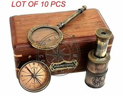 Vintage Dollond London Gift Set Box Brass Compass Telescope And Magnifying Glass