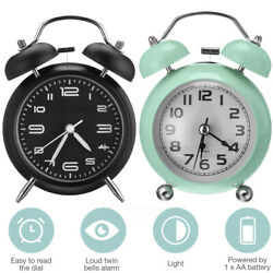 Vintage Extra Loud Alarm Clock Twin Bell Battery Analogy Backlight Bedroom USA