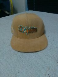 Miami Dolphins Vintage Union Usa Made Snap Back Embroidered Corduroy Cap Hat Nfl