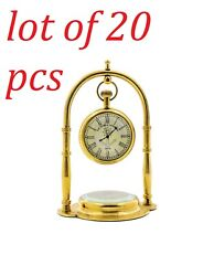 Brass Nautical Victoria London Desk Clock/table Clock With Direction Compass