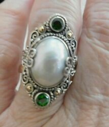 Balli By Robert Manse Size 11, Sterling Silver And 18k Ring 2 Chrome Diopside Gems