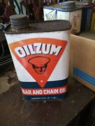 Vintage Oilzum Bar And Chain Oil 1 Qt. Metal Can ,