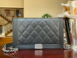 Nwt 00v Black Caviar Ruthenium Boy Woc Wallet On The Chain Bag Sold Out