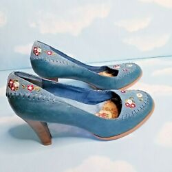 Anthro Seychelles Womenand039s Teal Blue Leather Floral High Heel Pumps Sz 9