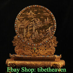 14 Marked Old China Copper Gold Palace 2 Dragon Eight Immortals Folding Screen