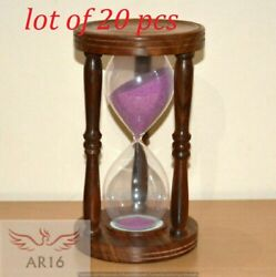 Wooden Sand Timer With Beautiful Pink Sand Hour Glass Table Decor Collectible