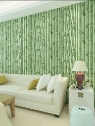 2-green Bamboo Print Wallpaper Wall Accent Contact Paper Free Shipping Sale