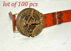 Antique Finish Vintage Style Brass 3 Sundial Wrist Compass Marine Collectible