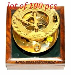 Vintage Antique Maritime Brass 3 Sundial Compass With Wooden Box Lot Of 100 Pcs