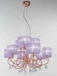 Suspended Lights Classic With Crystal Clear Copper Lampshade Lilac