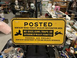 Vintage 1954 Rare Kentucky Posted No Hunting Metal Sign 24andrdquo X 12andrdquo Animals