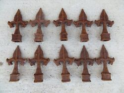 10 Cast Wrought Iron Finial Fleur Style 5/8 Ornamental Fence Toppers Antique