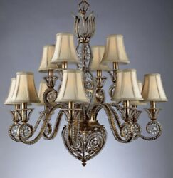 French Crystal Beaded Chandelier Gilt Metal Tole 13 Light A1