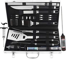 24pcs Bbq Grill Tools Set With Meat Thermometer And Injector Extra Thick Stainle