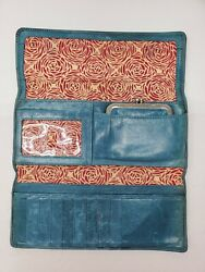 Hobo International Teal Blue Leather Wallet Kisslock Coin Purse Set Magnetic $28.69
