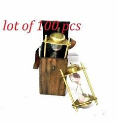 Nautical Handmade Brass And Glass Fillable Hourglass Sand Timer Lot Of 100 Pcs