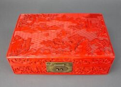 Vintage Large Carved Chinese Cinnabar Landscape Lacquer Jewelry Storage Box