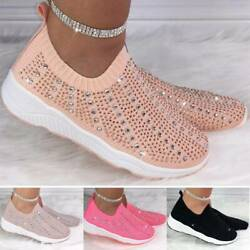 Ladies Slip On Rhinestone Casual Trainers Sports Gym Tennis Sneakers Shoes Size