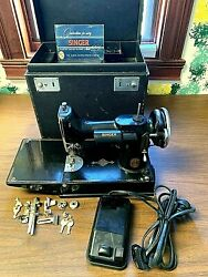 Vintage Singer Featherweight 221 Sewing Machine 1938 W/ Case Foot Pedal Manual
