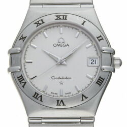 Auth Omega Watch Constellation 1512.30.00 Ss Silver Case 33mm Quartz Calendar