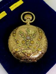 Magnificent Antique Tri-coloured Gold And Diamond Elgin Full Hunter Pocket Watch