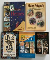Lot Of 5 Books On The Catholic Saints - Including Book Of Heroes By Amy Welborn