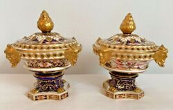 Extremely Rare Pair Of Royal Crown Derby 6299 Derby Witches Pot Pourri Vases