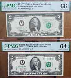 Matching Low 3 Digit Fancy Star Serial A00000386 2 1976 And 2003 Pmg Epq