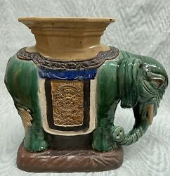 Antique Chinese Circa 1900 Shiwan Pottery Elephant Figure Garden Seat Or Stand
