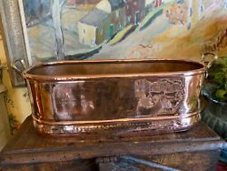 Lovely Antique English Copper Fish Kettle Planter Container