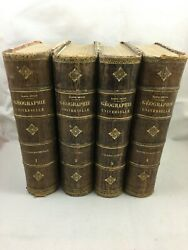 Lot Antique French Victorian Large Leather Bound Book Geography 1876 Xixth