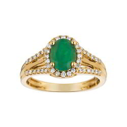 Emerald Solitaire With Accent Wedding Anniversary Ring 14k Yellow Gold