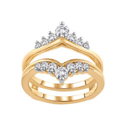 3/4 Ctw Round Natural Diamond Enhancer Solitaire Guard Wrap Ring 14k Yellow Gold