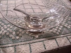 Sterling Silver Bowl Vtg Candy Relish Divided Dish Clear Crystal Glass