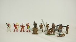Manoil Barclay Lot Of 14 Die Cast Soldiers Military Bazooka Native American S3